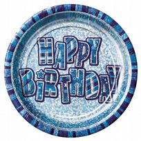 "Blue Glitz Happy Birthday 9"" Prism Paper Plates (8)"